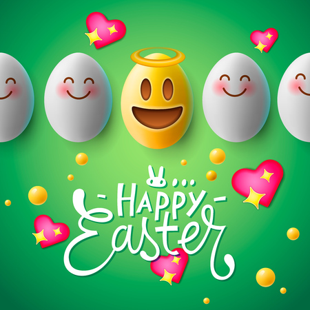 Happy Easter poster, easter eggs with cute smiling emoji faces, vector.