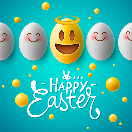 Happy Easter poster, funny easter eggs with smiling emoji faces, vector.
