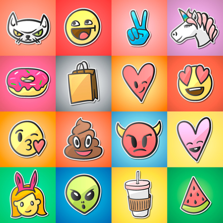 Set of colorful emoticons, emoji, stickers backgound, vector.