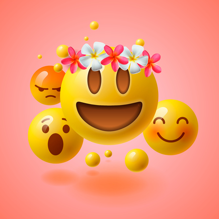 Realistic yellow emoticons with flower on head, summer concept, emoji with wreath flowers on head, vector illustration.