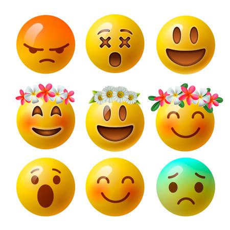 Smiley face emoji ou émoticônes jaunes en 3D brillant brillant isolé sur fond blanc, illustration vectorielle.