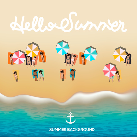 Hello summer poster, beach with waves, umbrellas, bright towels, vector illustration.