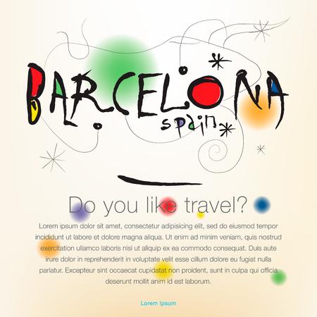 Welcome to Spain, Barcelona poster vector illustration. Illustration