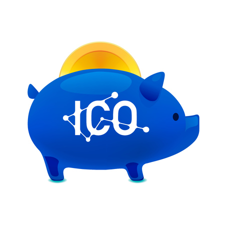 Pig money box icon with falling bitcoin, ICO bitcoin, Initial coin offering, ICO Token production process concept, vector illustration. Illustration