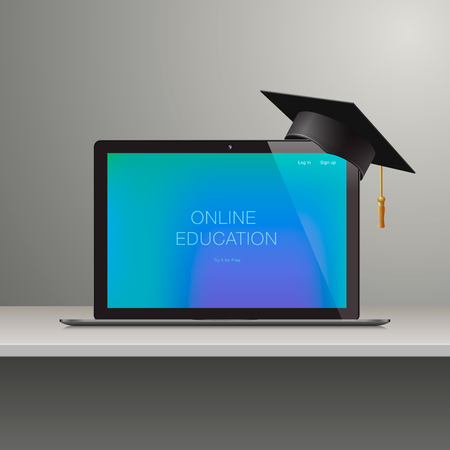 Online learning, webinar, online education, business training, knowledge expertise intelligence learn concept, vector illustration.