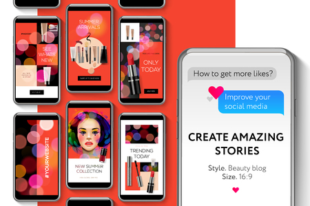 Social media templates, Beauty Blog Stories Bundle for brands and blogger, modern promotion web banner for social media mobile apps, vector illustration.