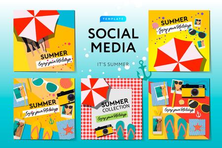 Social media templates Summer Time, use for brands and blogger, modern promotion web banner for social media mobile apps, vector illustration