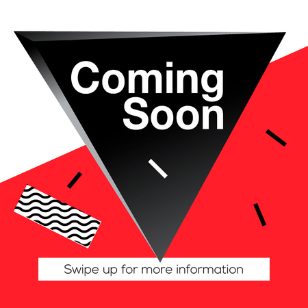Modern promotion square web banner Coming Soon, for social media mobile apps. Elegant promo banner for online shopping with abstract pattern, vector illustration.