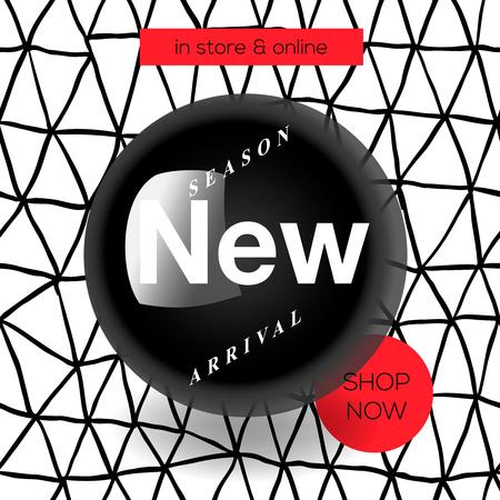 Modern promotion square web banner New Arrival, for social media mobile apps. Elegant promo banner for online shopping with abstract pattern, vector illustration. Illustration