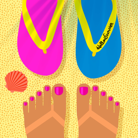 Summer vacation template with tanned woman s feet on the beach and flip flops, top view, vector illustration.