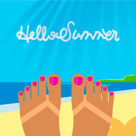 Summer vacation template with tanned woman s feet on the beach, vector illustration.