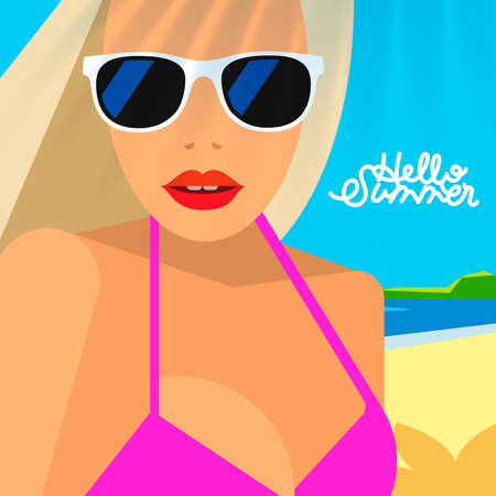 Hello Summer poster, portrait of hot girl on a beach in pink bikini and sunglasses, vector illustration