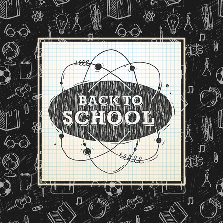 Back to school poster, sketchy notebook doodles with lettering, vector illustration.