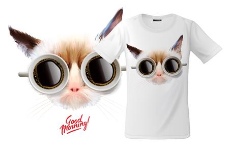 Diseño de impresión de camiseta moderna con gato divertido con tazas de vasos de café, uso para sudaderas y recuerdos, estuches para teléfonos móviles, ilustración vectorial.