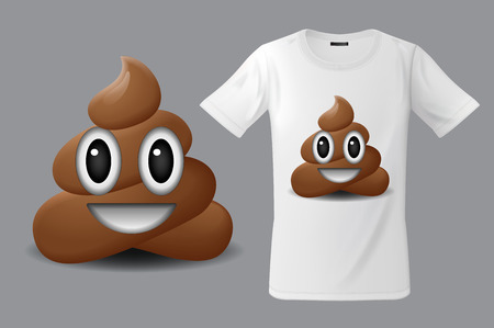 Modern t-shirt print design with shit emoticon, smiling face, emoji, use for sweatshirts, souvenirs and other uses, vector illustration. Çizim