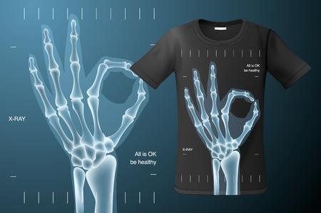 Alles is ok teken, röntgenfoto van menselijke hand, t-shirtontwerp, modern printgebruik voor sweatshirts, souvenirs en ander gebruik, vectorillustratie.