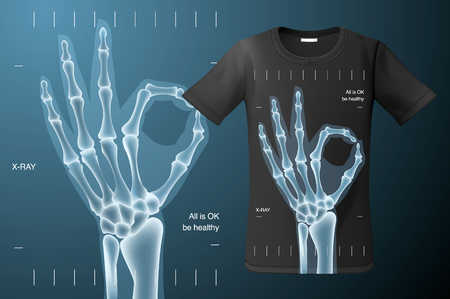 Tout est signe OK, radiographie de la main humaine, conception de t-shirt, utilisation d'impression moderne pour pulls molletonnés, souvenirs et autres utilisations, illustration vectorielle.