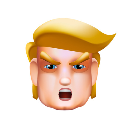 Character portrait icon of Donald Trump giving a speech, vector illustration.
