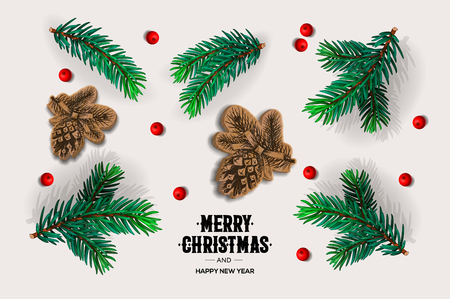 Merry Christmas and Happy New Year design with fir branches, pine cones, red berries, vector illustration.
