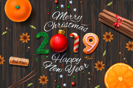 Merry Christmas, Happy New Year 2019, vintage background With Typography and spices for Christmas drink mulled wine, vector illustration Çizim