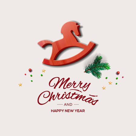 Minimalist style Christmas greeting card with red wooden rocking horse, vector illustration.