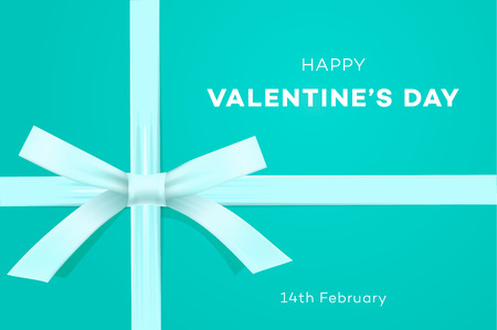 Happy Valentines day, symbol of love, gift on sweet blue background, greeting card or gift certificate, vector illustration Stock Photo