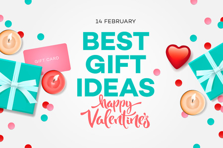 Valentines day sale banner, best gift ideas, sweet blue gift box, candles, gift certificate, confetti, vector illustration