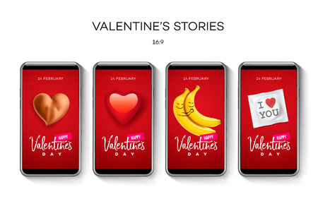 Valentines day stories template. Streaming. Creative universal Editable set in trendy style with emoji smiley faces, icons, vector illustration.