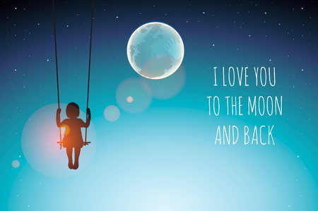 Silhouette of Little girl on a swing against the full moon. I love you to the moon and back, vector illustration