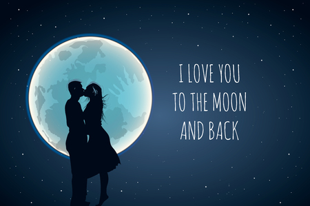 I love you to the moon and back. Cute positive lover slogan with full moon and lovers in hot air. Use for wishes, Valentines Day, date, wedding, posters, postcards, vector illustration Illustration
