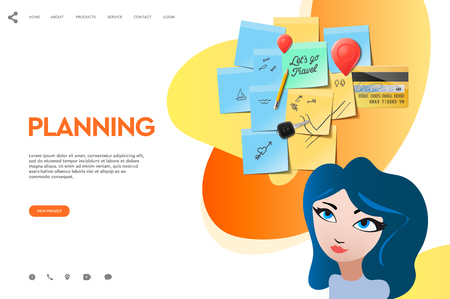 Web page template of business apps. Planning board schedule. Modern vector illustration concept for website and mobile website development.