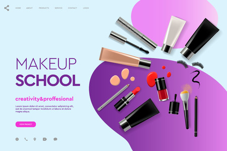 Web page design template for makeup school, course, natural products, cosmetics, body care. Modern design vector illustration concept for website and mobile website development.  イラスト・ベクター素材