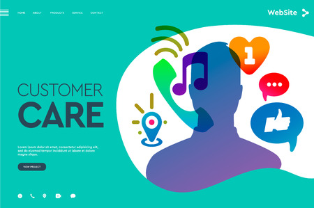 Web page design templates for User Support Service, Call Center, Customer Care Service. Modern vector illustration concept for website and mobile website development