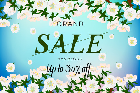 Advertisement about the spring sale on background with beautiful cherry blossom. Vector illustration. Banco de Imagens - 125051419