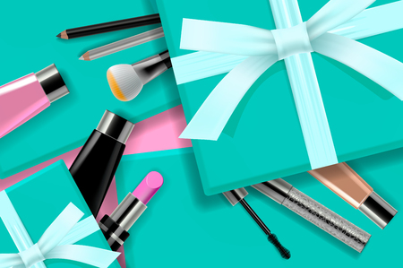 Concept online shopping cosmetics, gift boxes background top view. Sale Ads, magazine or catalog template design on commercial background, vector illustration Stok Fotoğraf - 124991391