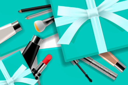 Concept online shopping cosmetics, gift boxes background top view. Sale Ads, magazine or catalog template design on commercial background, vector illustration
