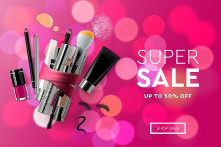 Super Sale cosmetics banner for shopping season, makeup, accessories, equipment, beauty, facial, fashion. Vector illustration.