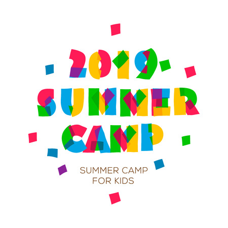 Themed Summer Camp 2019 poster in flat style, vector illustration. Illustration