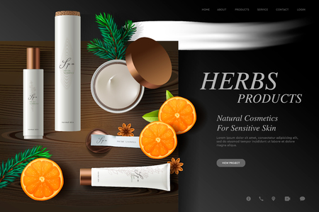 Cosmetics website template, fresh herbs products on wood plate texture, vector illustration 向量圖像