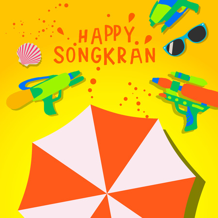 Songkran Festival. Thai Water Festival Elements, vector illustration Illustration