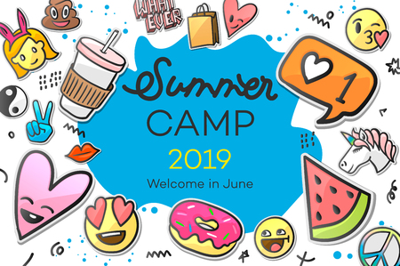 Summer Camp 2019 for kids creative and colorful poster with emoticon stickers, vector illustration Ilustração