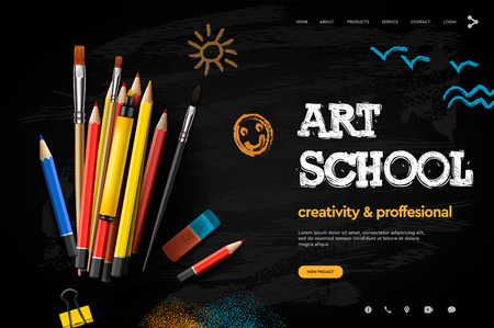 Web page design template for Art School, studio, course, creative kids. Modern design vector illustration concept for website and mobile website development. Ilustracja