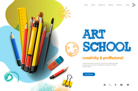 Modèle de conception de page Web pour l'école d'art, le studio, le cours, les enfants créatifs. Concept d'illustration vectorielle de design moderne pour le développement de sites Web et de sites Web mobiles