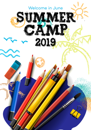Themed Summer Camp poster 2019, creative and colorful banner, vector illustration. Vector Illustration