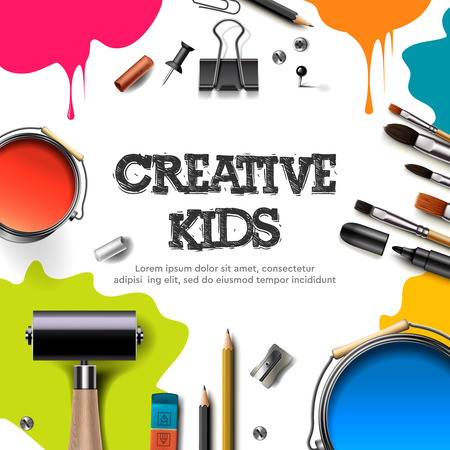 Kids art craft, education, creativity class concept. Banner or poster with white square paper background, hand drawn letters, pencil, brush, paints. Vector illustration. 矢量图像