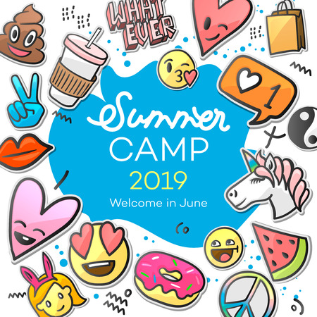 Summer Camp 2019 for kids creative and colorful poster with emoticon stickers, vector illustration Vectores
