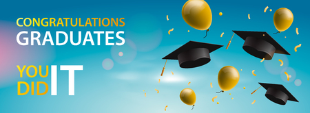 Congratulations Graduates 2019, caps, balloons and confetti on a blue sky background. Caps thrown up. Celebration background, vector illustration Banque d'images - 123068996