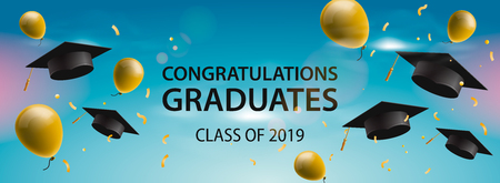 Congratulations Graduates 2019, caps, balloons and confetti on a blue sky background. Caps thrown up. Celebration background, vector illustration Stock Illustratie