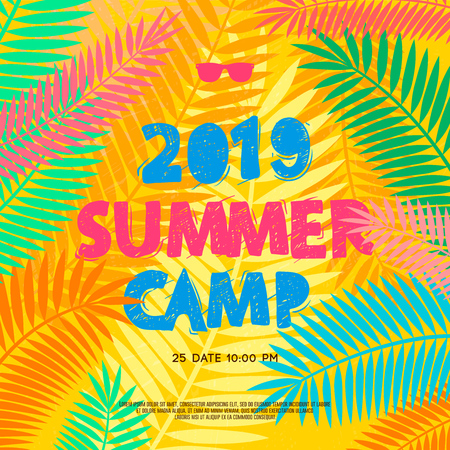 Summer camp 2019 handdrawn lettering on jungle background with colorful tropical leaves. Vector illustration