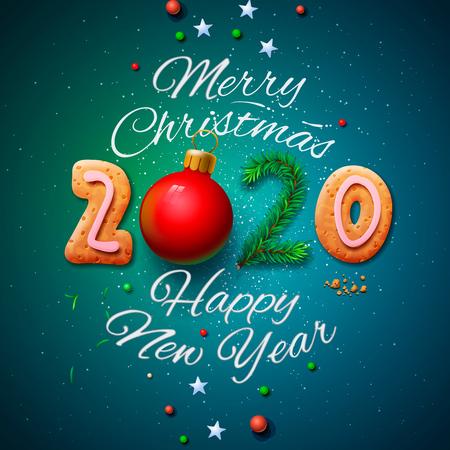 Frohe Weihnachten und ein glückliches neues Jahr 2020 Grußkarte, Vektorillustration. Vektorgrafik